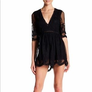 Wishlist embroidered lace romper - black - size m